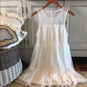 Dresses & Skirts - Super cute white mesh overlay dress with polkadots